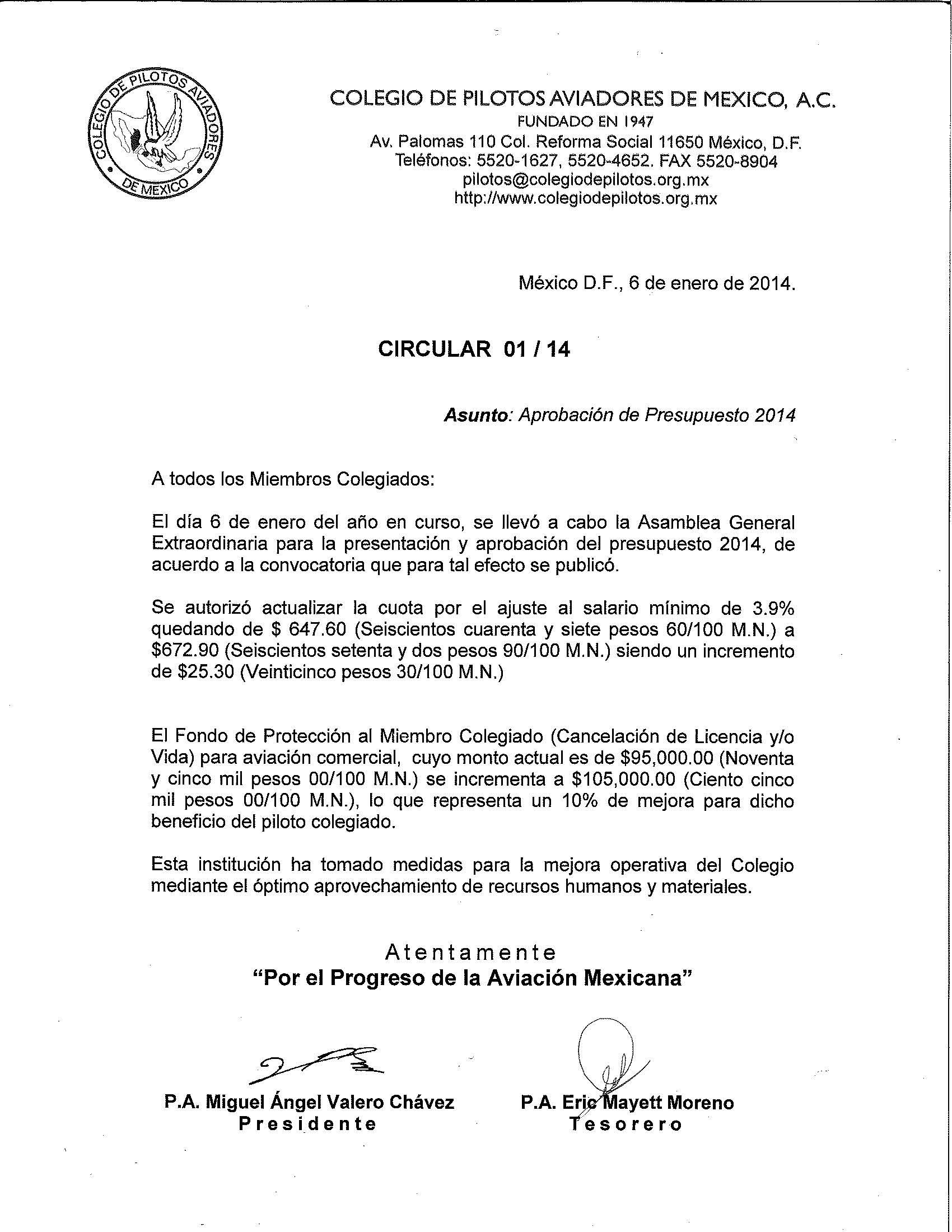 Colegio de Pilotos Aviadores de Mexico - 2014